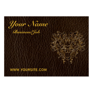 Leather-Look Flower 2 Dark Large Business Card