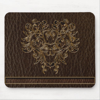 Leather-Look Flower 2 Dark Mouse Pad
