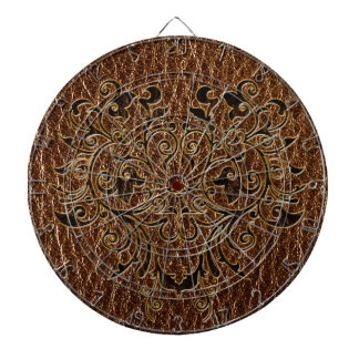 Leather-Look Flower 2 Dartboard With Darts