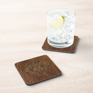 Leather-Look Flower 2 Drink Coaster