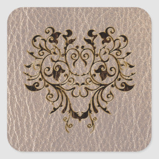 Leather-Look Flower 2 Soft Square Sticker