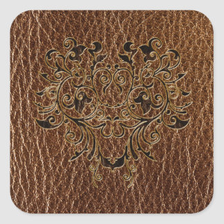 Leather-Look Flower 2 Square Sticker