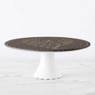 Leather-Look Flower Dark Cake Stand