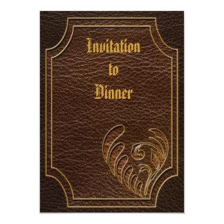 "Leather-Look Flower Dark 5"" X 7"" Invitation Card"
