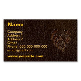 Leather-Look Flower Dark Magnetic Business Card
