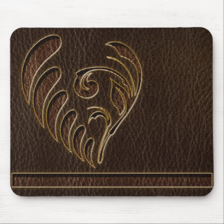 Leather-Look Flower Dark Mouse Pad