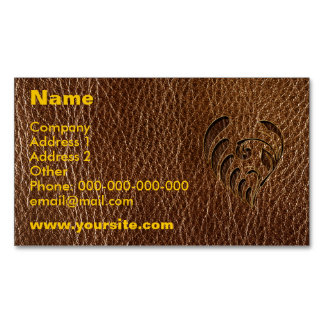 Leather-Look Flower Magnetic Business Card