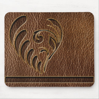 Leather-Look Flower Mouse Pad