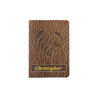Leather-Look Flower Passport Holder
