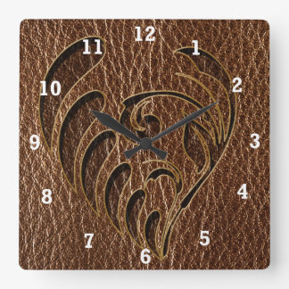 Leather-Look Flower Square Wall Clock