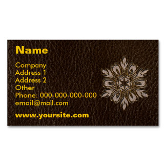 Leather-Look Flower Star Dark Business Card Magnet