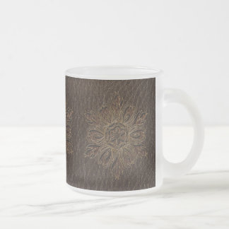 Leather-Look Flower Star Dark Frosted Glass Coffee Mug
