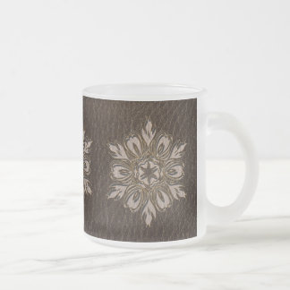 Leather-Look Flower Star Dark 10 Oz Frosted Glass Coffee Mug