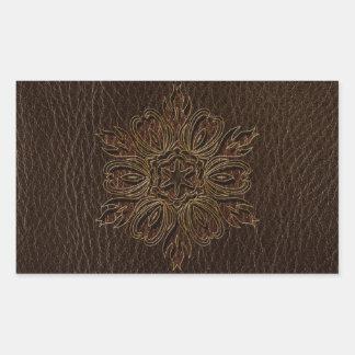 Leather-Look Flower Star Dark Rectangular Sticker