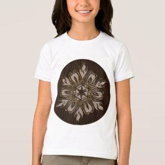 Leather-Look Flower Star Dark T-Shirt