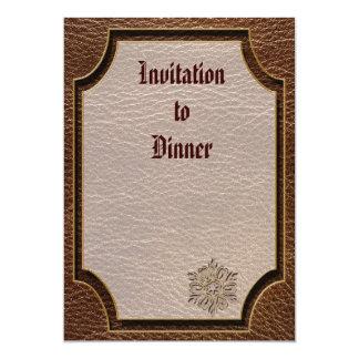 "Leather-Look Flower Star 5"" X 7"" Invitation Card"