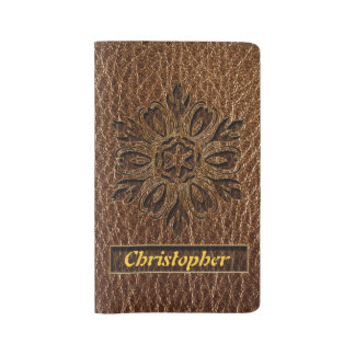 Leather-Look Flower Star Large Moleskine Notebook