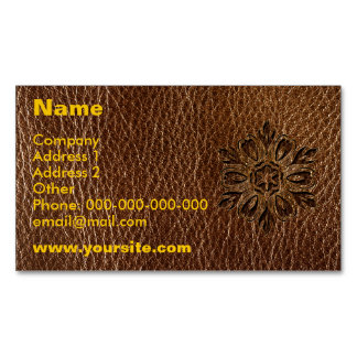 Leather-Look Flower Star Magnetic Business Card