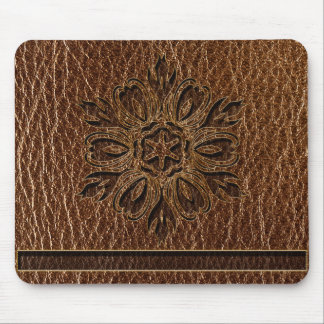 Leather-Look Flower Star Mouse Pad