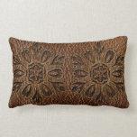 Leather-Look Flower Star Throw Pillows