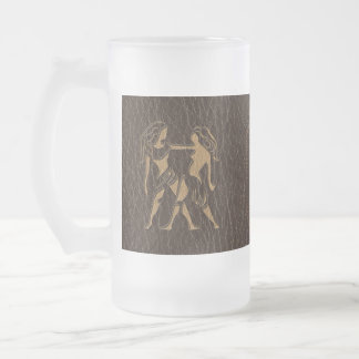 Leather-Look Gemini Frosted Glass Beer Mug