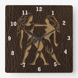 Leather-Look Gemini Square Wall Clock