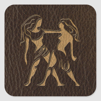 Leather-Look Gemini Square Stickers