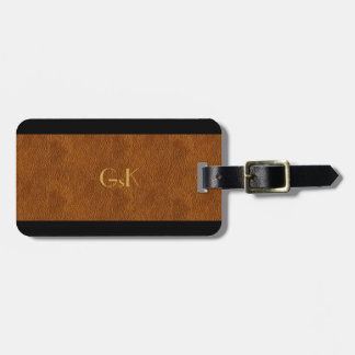 Leather Look  Gold Monogram Executive Luggage Tag