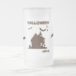 Leather-Look Halloween 1 Frosted Glass Beer Mug