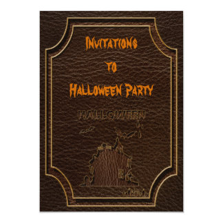 Leather-Look Halloween 1 5x7 Paper Invitation Card