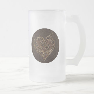Leather-Look Heart Dark 16 Oz Frosted Glass Beer Mug
