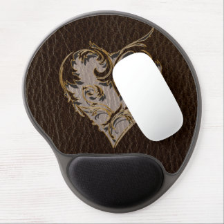 Leather-Look Heart Dark Gel Mouse Pad