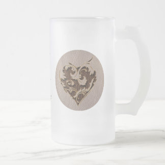 Leather-Look Heart Soft 16 Oz Frosted Glass Beer Mug