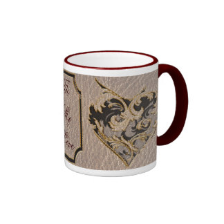 Leather-Look Heart Soft Ringer Coffee Mug