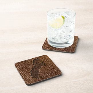 Leather-Look Horse 2 Beverage Coaster