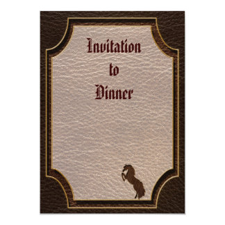 "Leather-Look Horse 2 Dark 5"" X 7"" Invitation Card"