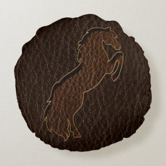 Leather-Look Horse 2 Dark Round Pillow