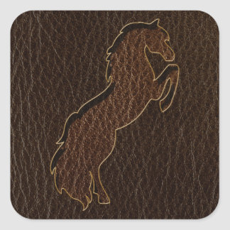 Leather-Look Horse 2 Dark Square Sticker