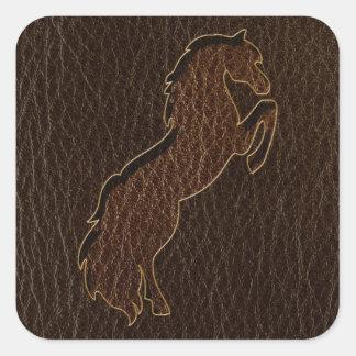 Leather-Look Horse 2 Dark Square Sticker