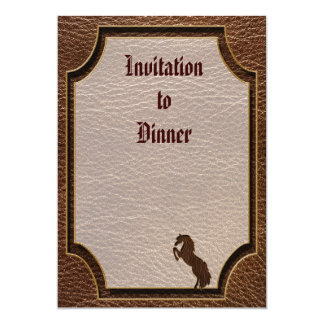 """Leather-Look Horse 2 5"""" X 7"""" Invitation Card"""