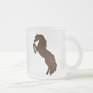 Leather-Look Horse 2 10 Oz Frosted Glass Coffee Mug