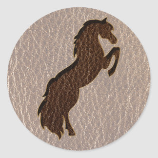 Leather-Look Horse 2 Soft Classic Round Sticker