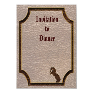 """Leather-Look Horse 2 Soft 5"""" X 7"""" Invitation Card"""
