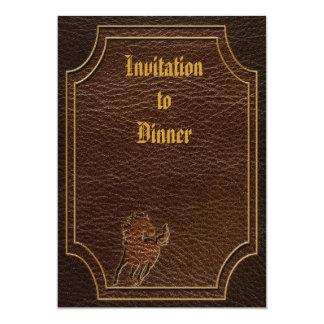 "Leather-Look Horse Dark 5"" X 7"" Invitation Card"