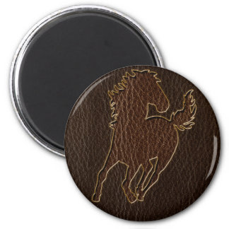 Leather-Look Horse Dark Magnet
