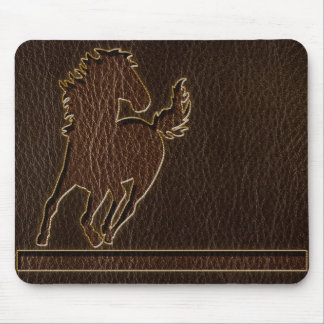 Leather-Look Horse Dark Mouse Pad