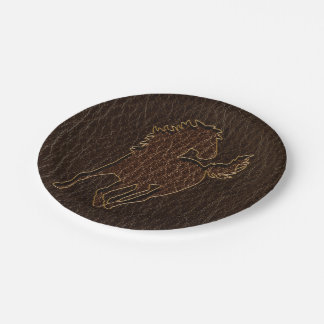 Leather-Look Horse Dark Paper Plate