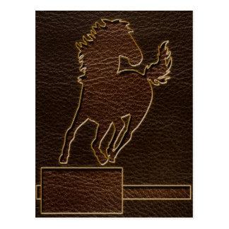 Leather-Look Horse Dark Postcard