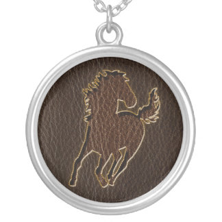 Leather-Look Horse Dark Silver Plated Necklace