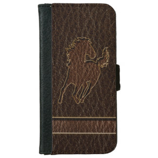 Leather-Look Horse Dark Wallet Phone Case For iPhone 6/6s